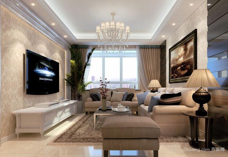 2016欧式小户型装修风格客厅影视墙效果图