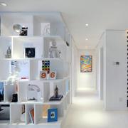 纯洁白色大户型家装置物架效果图片