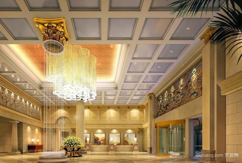 豪华简欧酒店大堂水晶灯设计效果图