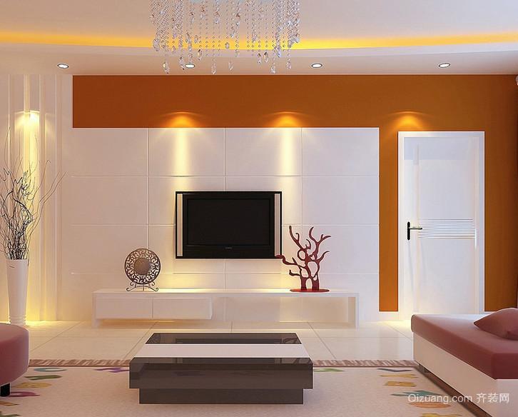 现代精致大方的欧式大户型客厅影视墙装修效果图图片