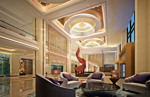 现代精致五星级酒店大堂设计效果图