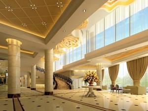 温馨商务酒店大堂玻璃幕墙设计效果图