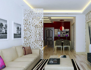 现代84平家居客厅屏风隔断设计效果图