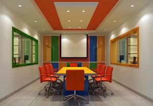 都市小企业彩色会议室装修布置效果图