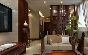 简约中式两居室客厅屏风隔断设计效果图