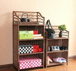 自然单身公寓家用藤编鞋架装修图片