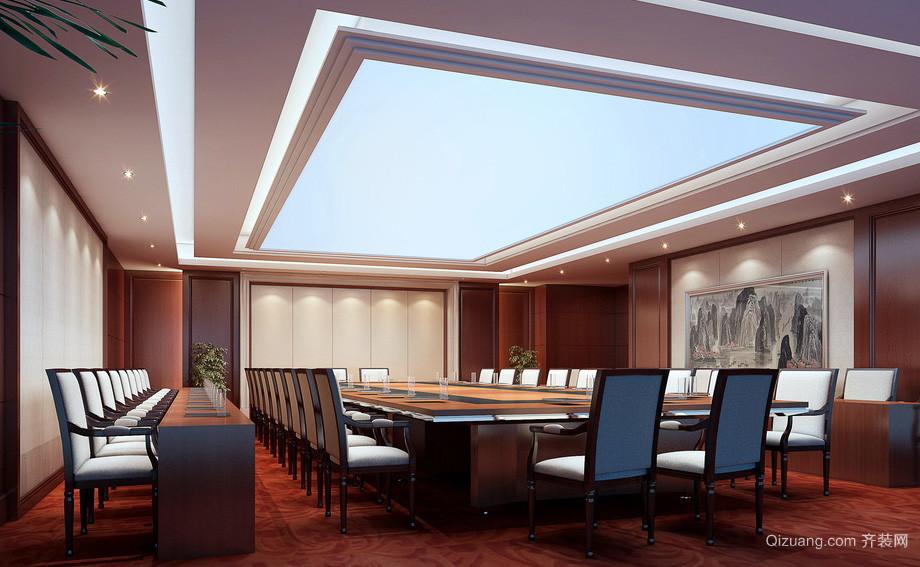 新中式大型企业会议室装修布置效果图