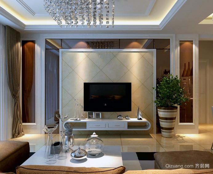 2016完美欧式大户型家装 客厅 电视墙 装修效果 图高清图片