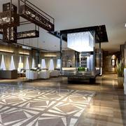超大型新中式酒店大堂设计效果图