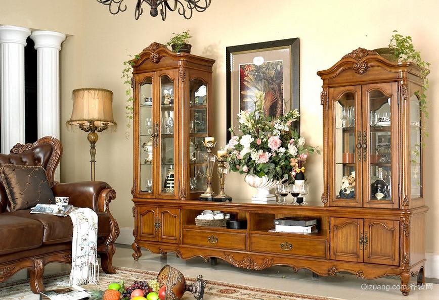 欧式古典大客厅装饰柜装修效果图