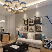 60平米简约小户型家装客厅照片墙案例