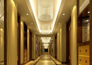 奢华大型都市酒店走廊吊顶装修效果图