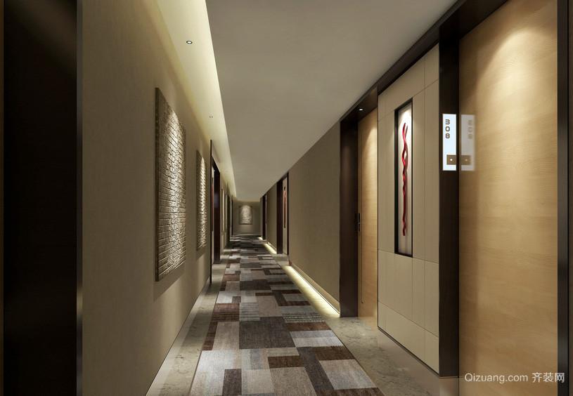 快捷酒店简约走廊吊顶装修效果图