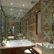 现代酒店卫生间艺术玻璃门装修效果图