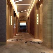 现代酒店个性走廊吊顶装修效果图
