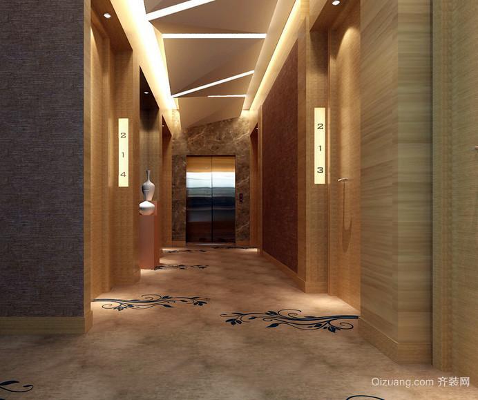 新中式主题酒店走廊独特吊顶装修效果图 齐装网装修效果图
