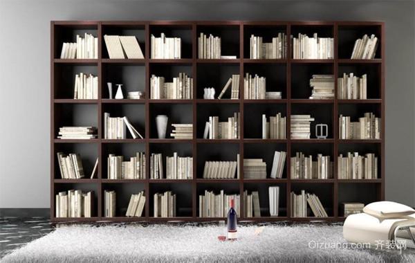 复式楼实木书柜效果图片大全