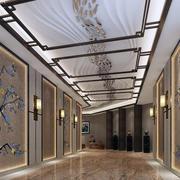 新中式主题酒店走廊独特吊顶装修效果图