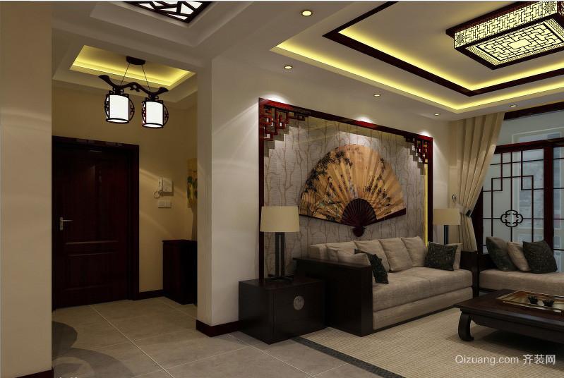 中式儒雅两居室走廊吊顶装修效果图