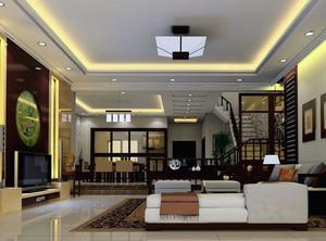 2016品味优雅的现代大户型中式客厅装修效果图