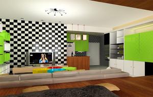70平米小户型简欧客厅背景墙装修效果图鉴赏