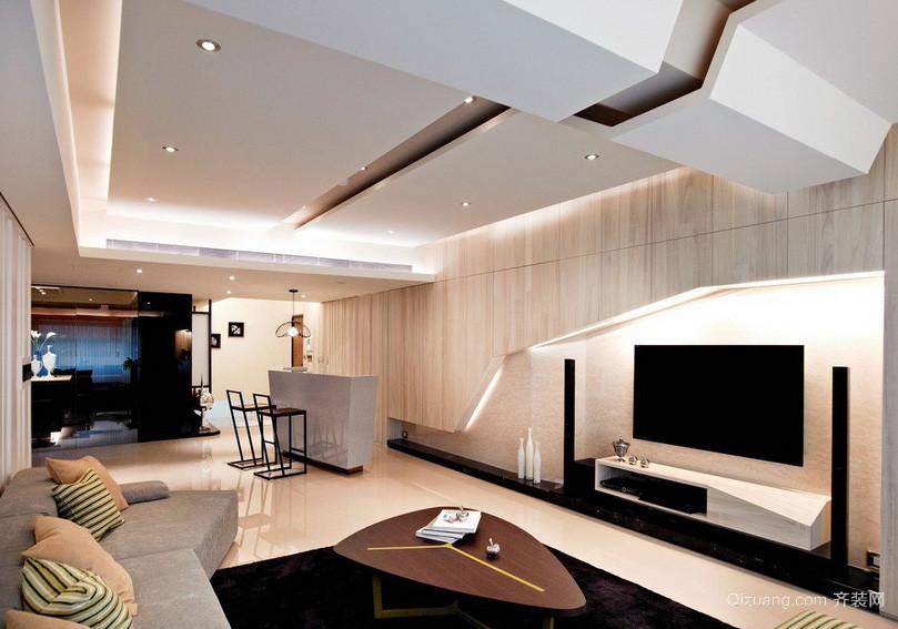 线条分明:时髦小公寓家居客厅装修图