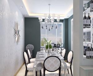 90平米大户型简欧风格餐厅背景墙装修效果图