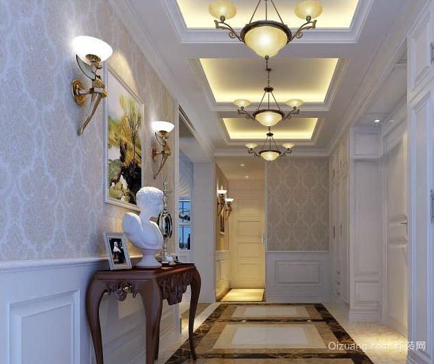 160平米三室一厅简欧走廊吊顶装修图