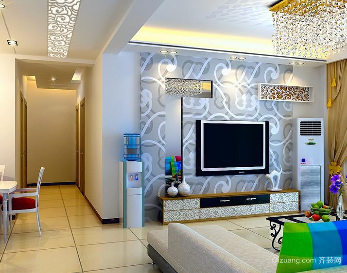 128平米简约风格客厅电视背景墙效果图
