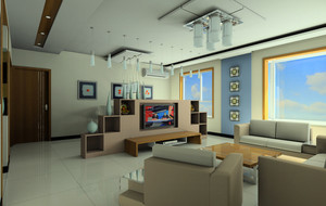 跃层保护视力客厅电视背景墙效果图