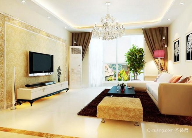 别墅暖色调简约风格电视背景墙效果图