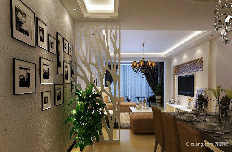 跃层楼自然风格餐厅背景墙效果图