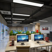 大型深色调办公室装修效果图