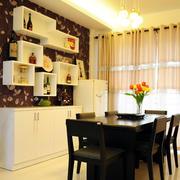 复式楼暖色调餐厅背景墙效果图