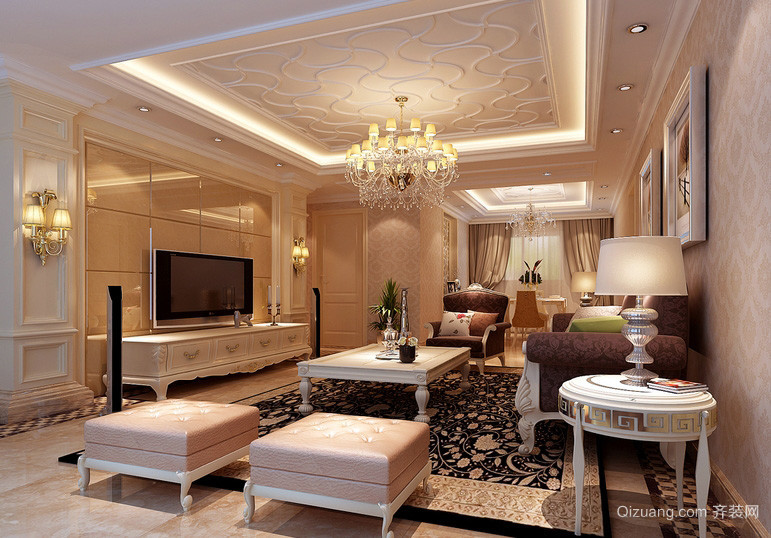 140平米大户型简欧客厅吊灯装修图片