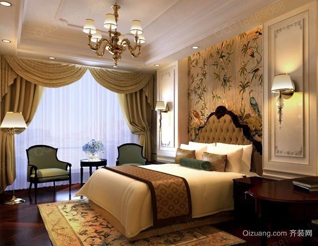 110平米大户型欧式卧室软包背景墙装修效果图