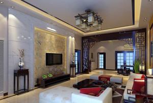 中式三居室客厅电视墙装修设计效果图