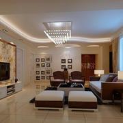 简约精美三室一厅客厅吊灯图片