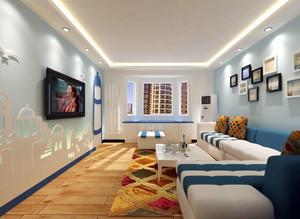 蓝色时尚小户型电视背景墙装修设计图