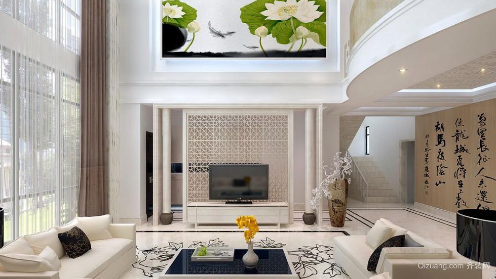 水墨丹青:新中式复式楼客厅电视墙图