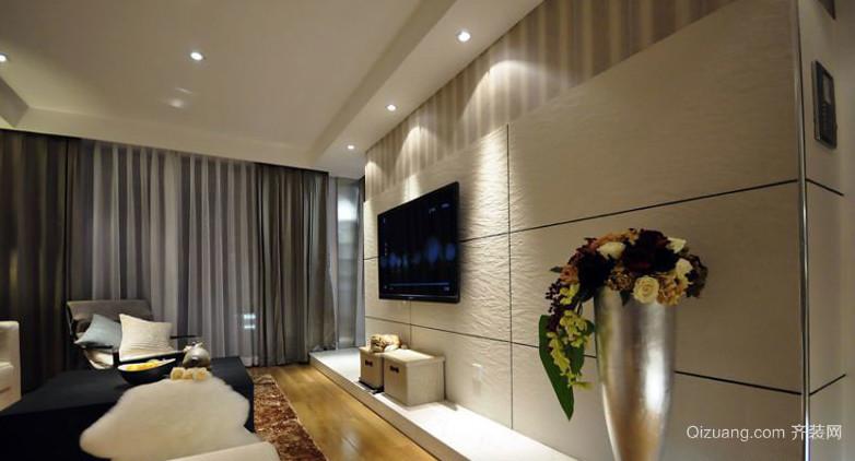 跃层清新风格硅藻泥电视背景墙图片