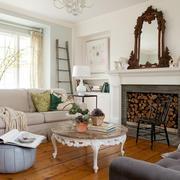 混搭风格小客厅天然大理石茶几装修图