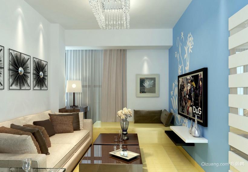 轻快100平米家居客厅电视墙装修设计图