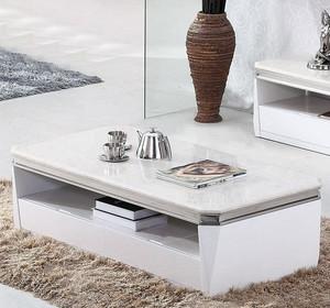 纯洁白色客厅天然大理石茶几效果图