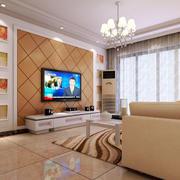 现代风格110平米家居客厅电视墙装修图