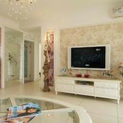 2016两室一厅田园客厅电视墙装修设计图