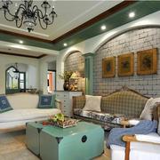 地中海复古风格大户型客厅装修效果图