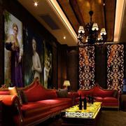 艺术感十足的酒吧包厢背景墙画装修图