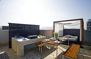 现代公寓大厦顶楼露台装修设计效果图
