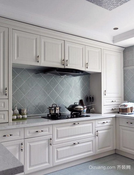 2016大户型现代 简欧 风格厨房吊顶 装修效果 图高清图片